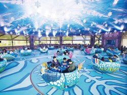 Spinning and Lifting Teacup Ride